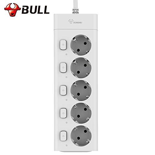 Bull Power Strip con 5 Tomas - 3M 10A 2500w Enchufe eléctrico...