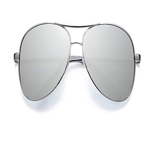YDOMY 2019 Neue Sonnenbrillen Herrenbrillen Sonnenbrillen Flut Leute Polarisierte Linsen Fahren Fahren Spezielle Fahrer Flut Großes Gesicht Silber Rahmen Weiß Quecksilber