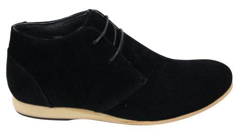 Hommes Noir Beige Brown Navy Desert Boots Chaussures Suede High Top cheville Chelsea Noir