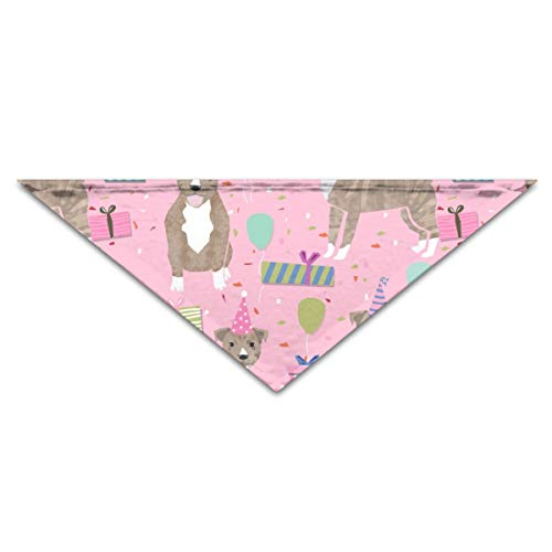 CAP PILLOW HOME Pet Bandanas Pitbull Birthday Light Brindle Pitty Cute Dogs Birthday Pink Triangle Bibs Scarfs for Small to Large Dogs Cats