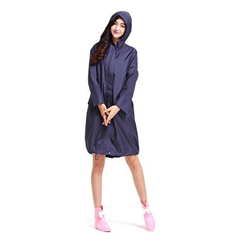 Dopobo® Elégant Vêtement de pluie , Léger Imperméable de Fermeture éclaire avec Capuche pour les Fille ou Femme bleu foncé