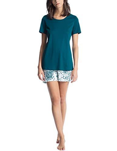 Calida Damen Zweiteiliger Schlafanzug Cosy Choice Blau (Poseidon Blue 529) Medium -