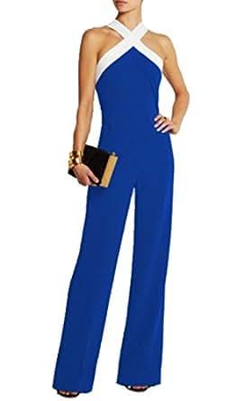 tuta con pantaloni lungo vestito abito cerimonia da donna elegante casual party-Blue-S