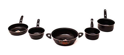 Rynox Steel Induction Cooktop Fry Pan (Black) -Set of 5 Piece