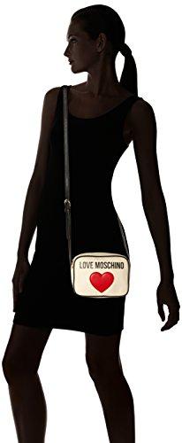 Love Moschino Damen Leinwand-Logo-Clutch-Tasche Schwarz beige (Natural Canvas-Black)
