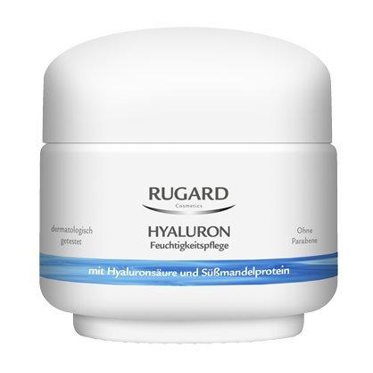 Rugard Hyaluron Moisturiser für normale und trockene Haut, Pflege-Set 2x100ml. Mit Hyaluronsäure und Süßmandelprotein. Feuchtigkeitsspendend und glättend. Dermatologisch getestet. Ohne Parabene.