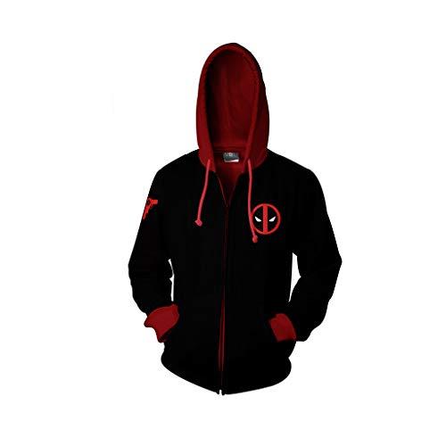 Marvel 3D gedruckte Hoodie Langarm Unisex Hoody Zip Up Cosplay Comics Kostüme Streetwear Large Size Sweatshirt Casual Top,Schwarz,XXXXXL