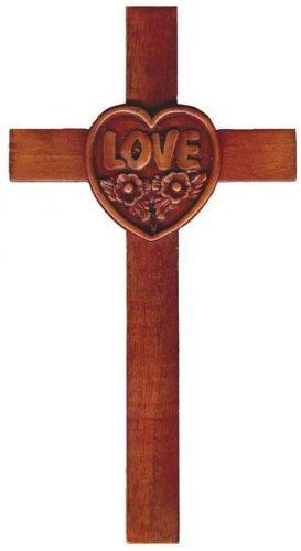 20cm Holz Mahagoni große Liebe Herz Wand hängen durchqueren braun (Das Große Kreuz Wand Hängen)