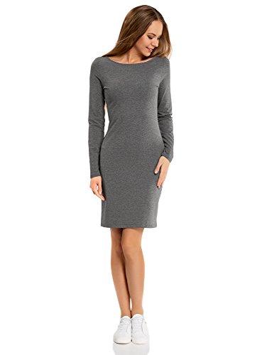 oodji Ultra Damen Enges Jersey-Kleid, Grau, DE 36 / EU 38 / S