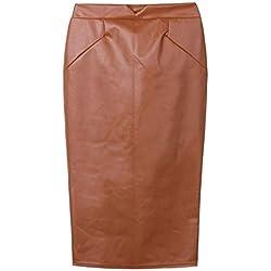 ERLIZHINIAN Altura de la Cintura Delgada del Partido Falda de Cuero de otoño e Invierno de Las Mujeres en la Falda lápiz Bolsa de la Cadera Falda Larga de Color Rojo marrón tamaño Grande