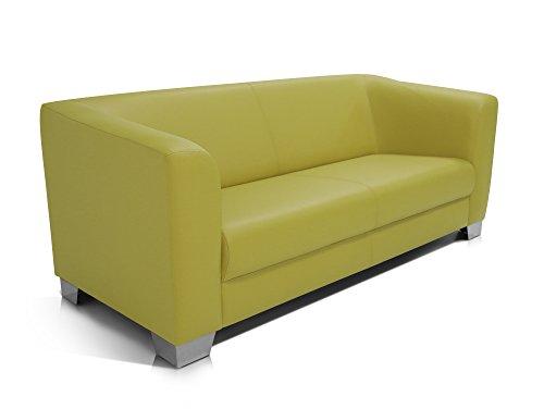 moebel-eins CHICAGO 3-Sitzer Sofa/Ledersofa, grün