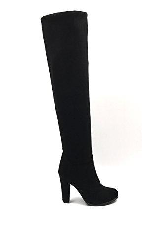 CHIC NANA . Chaussure femme cuissarde à talon en effet daim, réversible, dotée d'un bout rond.