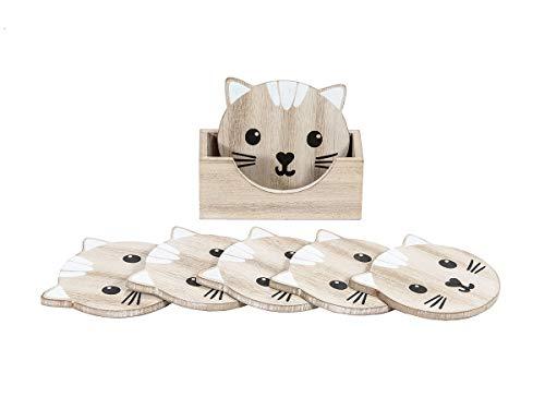 SPOTTED DOG GIFT COMPANY Dessous de Tasse, Dessous Verre en Bois Motif Chat pour Tasses Mug, Lot de 6 avec Boîte de Rangement, Chat Deco Cuisine et Maison Cadeau pour Femme Hommes