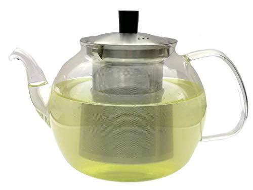Teekanne Glas Teebereiter mit Siebeinsatz aus Edelstahl Feine Poren, 900ml Glaskanne aus hochwertigem Borosilikatglas mundgeblasen, Tee-Sieb herausnehmbar (Sieb Glas-teekanne Metall)