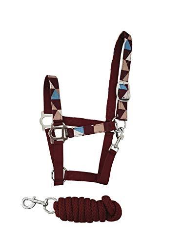 netproshop Pferde Nylon Halfter Gemustert mit Passendem Führstrick 2 Meter (Set), Groesse:Cob, Farbe:Rotbraun/Hellblau -