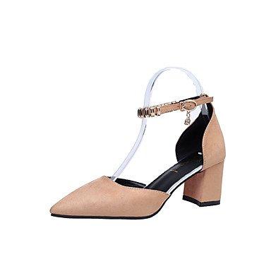 delle donne sandali estivi Comfort PU casual tacco basso Walking perline Nero Bianco US5.5 / EU36 / UK3.5 / CN35