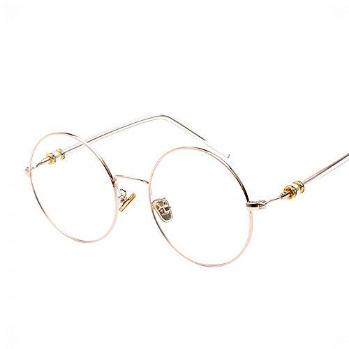 Cvthfyky Flache Gläser für Frauen, Vintage Metall große Runde Brillengestell Ferienbrillen (Farbe : Rose glod)