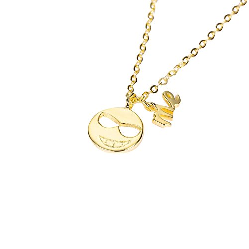 Epinki Mode Damen Halskette 925 Silber Rund Form Kette Sonnenbrille Lächelndes Gesicht Gelb Damenkette Kettenlänge 40+5 CM