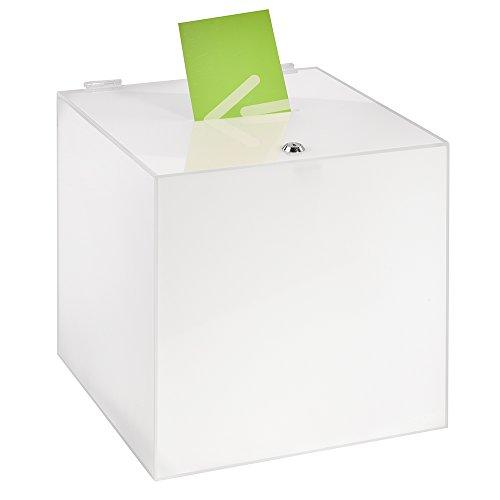 Losbox/Aktionsbox 300x300x300mm mit Schloß, aus opalem Acrylglas/Spendenbox / Einwurfbox/Gewinnspielbox / Wahlurne/Acryl / Milchglas/Opal / Milchig/Blickdicht / undurchsichtig/abschließbar - Zeigis®