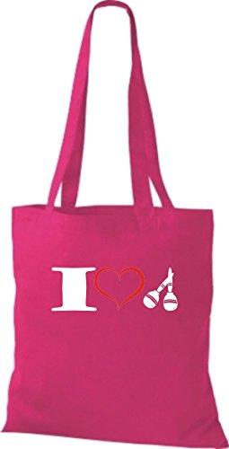 Shirtstown Stoffbeutel Musik I love Maracas pink