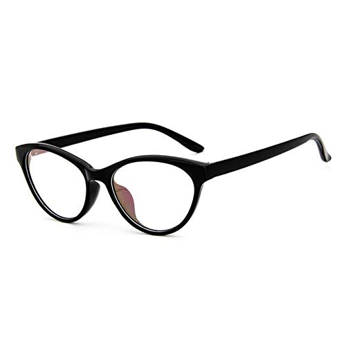 YMTP Frauen-Katzen-Augen-Glasrahmen Katzenaugen-Freies Brillen-Damen-Schauspiel-Rahmen Retro-, Helles Schwarzes