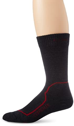 Icebreaker Hike+ Light Crew Chaussettes Homme, Jet Heather/red/black, 44.5-46.5 EU (Taille Fabricant: L )