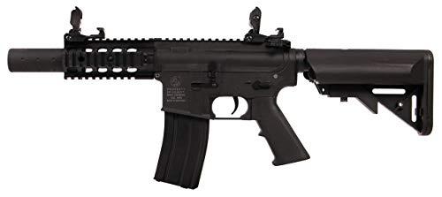 Airsoft-Colt M4 Special Force AEG Mini Noir 180862 Cybergun Nylon Keymod/Fibre de Nylon et métal/Couleur Noir/électrique (0.5 Joule)-Semi/Full Automatique