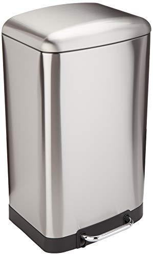 AmazonBasics Rectangle Soft-Close Trash Can with Steel