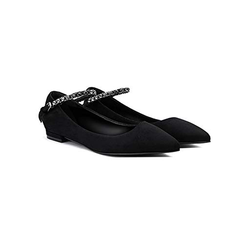 Spring Style Word Buckle with Pointed Wild Straps High Heels Roman Lace with Low Heel Single Shoes Women's Shoes Women Flats (Color : Black, Size : 38) Buckle Womens High Heel