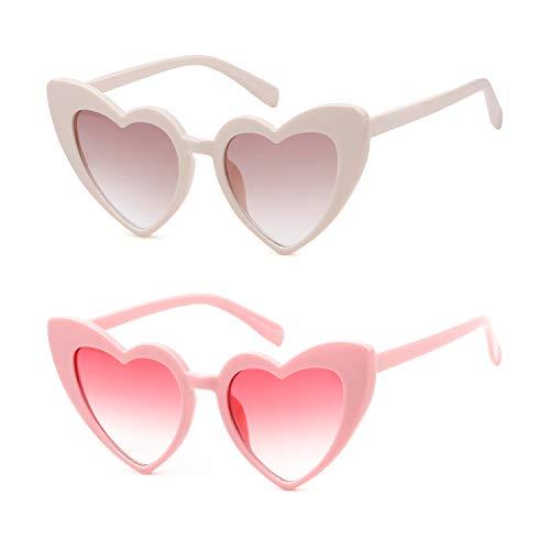 ADEWU Herzform Sonnenbrille Mode Retro Brille Damen Frauen (Y - Rosa + Beige)
