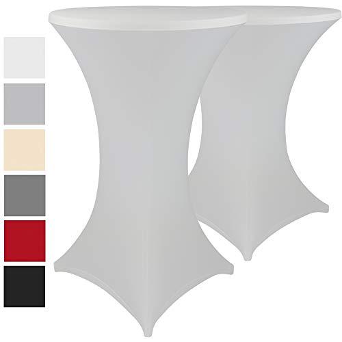 Stehtischhussen Stretch Elastique 2er Set - elastische Premium Stretchhusse für alle gängigen Bistrotische und Stehtische - dehnbarer Tisch-Überzug mit ÖkoTex100, Farbe:Weiß, Größe:Ø 60-65 cm