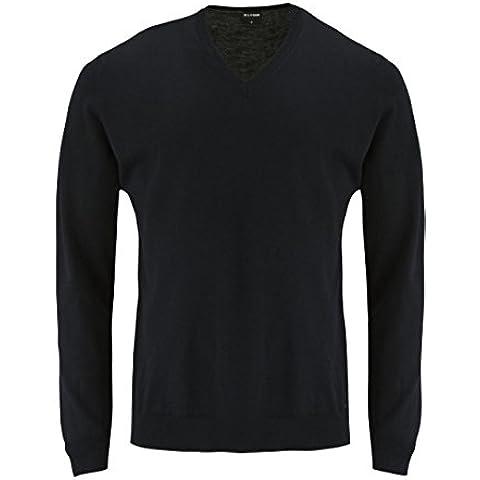 OLYMP V-taglio lana merino nero con zip e cappuccio nero Large