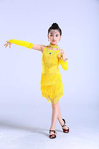 BT-GIRL Mode Quaste Pailletten Salsa Tango Latein Dance Kleid Kinder Wettbewerb Dancewear - Mädchen Ballroom Tanzkleid Partykleider,Yellow,150CM