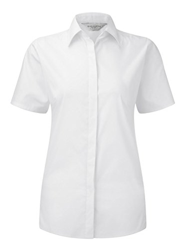 Womens 3/4 Sleeve Poplin Shirt (Russell Collection Damen Bluse Gr. XXXXL, Weiß - Weiß)
