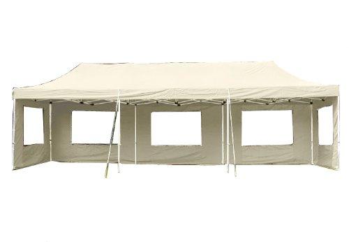 Nexos Profi Faltpavillon Partyzelt Pavillon 3x9 m mit Seitenteilen - hochwertige Ausführung - wasserdichtes Dach mit PVC-Coating - 270 g/m² incl. Tragetasche und Zubehör - Farbe: Champagner