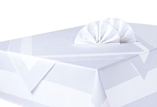 Preisvergleich Produktbild ZOLLNER Atlaskante Tischdecke Aus Baumwolle,  Weiß,  Ca. 130x220 cm