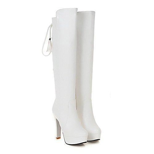 VogueZone009 Damen Rein Hoher Absatz Rund Zehe Reißverschluss Stiefel mit Metallisch Weiß