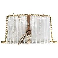 AGOPO Mode 2 en 1 Bolsa de Hombro de Cadena Transparente Jalea PVC Bolsa de natación Impermeable Semi-Transparente con Bolso de Mano pequeño cosmético (Blanco) para niña Dama