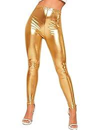 fddb23027799a WearAll Women's Shiny Metallic Print High Waisted Disco Pants Leggings  Ladies Stretch 8-14