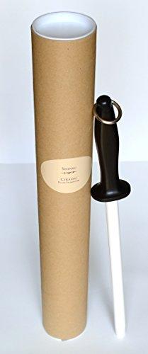 Varilla de cerámica SHINSU para afilar cuchillos, doble acción, gruesa y fina, 25cm