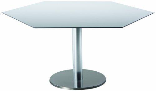 BEST 43591354 Tisch Turin sechseckig 120 x 140 cm, Edelstahl-Look / grau