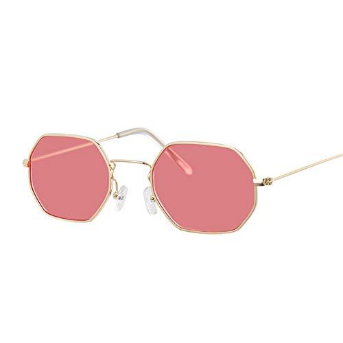 Y · Z Sonnenbrillen Metallrahmen Platz Sonnenbrillen Small-Frame Vintage Sonnenbrille Weibliche Ozean Blau Rosa Klar Sonnenbrille Für Frauen Retro Brillen, Goldred Modell