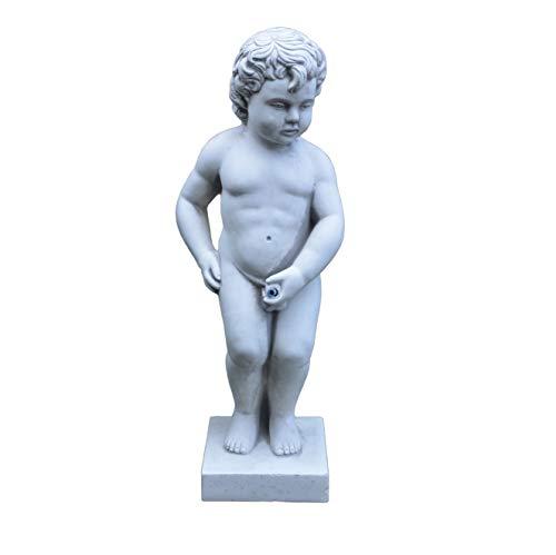gartendekoparadies.de Stein-Figur Manneken PIS Kleiner wasserlassender Mann aus Steinguss frostfest (Grau)