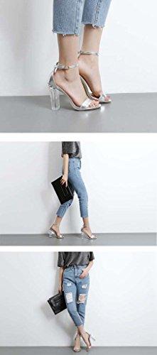 SHEO sandali con tacco Signore di fibbia parola trasparente trasparente con tacchi alti Silver