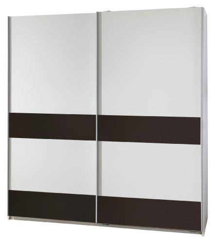 Wimex 051770 Schwebetürenschrank 135 x 198 x 64 cm, alpinweiß / Absetzungen lava