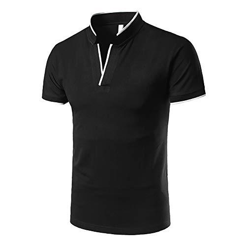 Showu Herren Poloshirts Stehkragen Polo Shirt Kurzarm Einfarbig Sommer T-Shirt (Schwarz 1, L) -