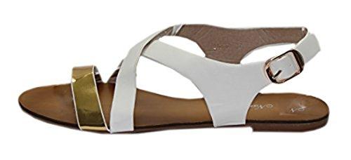 Sandale bicolore et chic Blanc