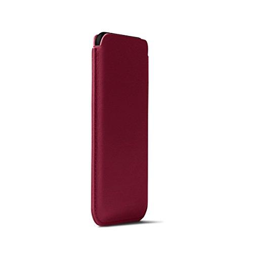 Lucrin - Klassische Schutzhülle für iPhone X - Schwarz - Glattleder Fuchsia