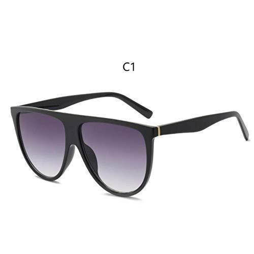 LETAM Sonnenbrille Dünne Flat Top Sonnenbrille Frauen Markendesigner Retro Vintage Sonnenbrille Weibliche Kim Kardashian Sonnenbrille Klarglas