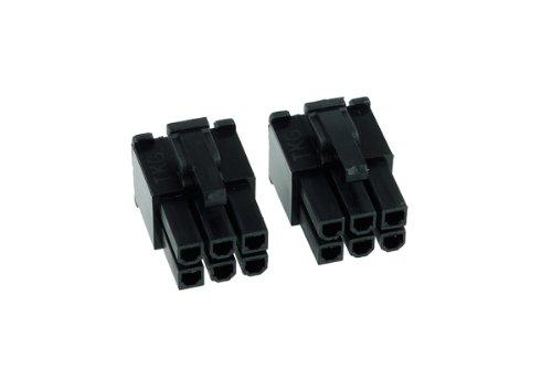 Phobya VGA Power Connector 6Pin Stecker (6-eckig) inkl. 6 Pins - 2 Stück Black Kabel Connector -
